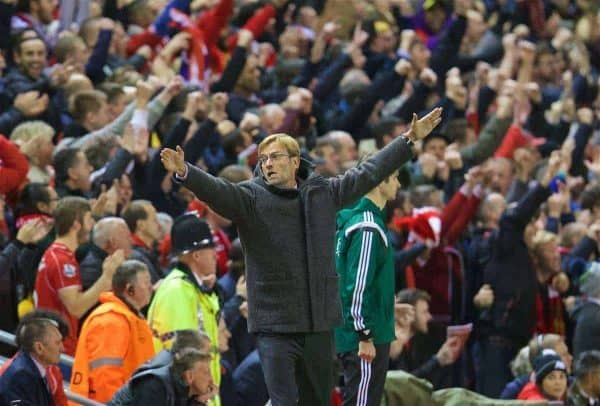 LIVERPOOL, ENGLAND - Thursday, October 22, 2015: Liverpool's manager Jürgen Klopp celebrates the first goal against Rubin Kazan during the UEFA Europa League Group Stage Group B match at Anfield. (Pic by David Rawcliffe/Propaganda)