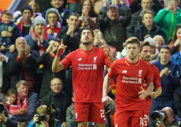 LIVERPOOL, ENGLAND - Thursday, October 22, 2015: Liverpool's Emre Can celebrates scoring the first goal against Rubin Kazan during the UEFA Europa League Group Stage Group B match at Anfield. (Pic by David Rawcliffe/Propaganda)