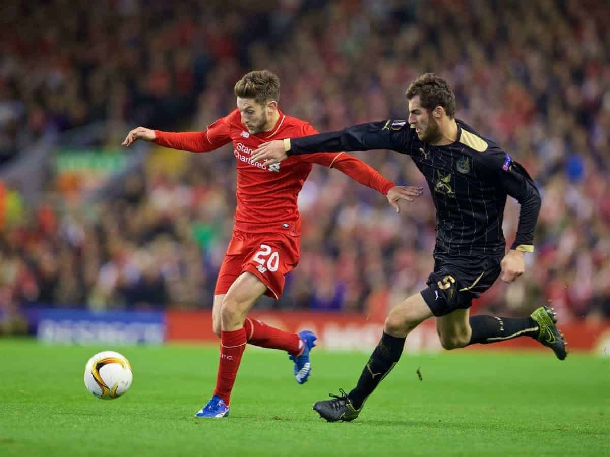 LIVERPOOL, ENGLAND - Thursday, October 22, 2015: Liverpool's Adam Lallana in action against Rubin Kazan's Solomon Kverkvelia during the UEFA Europa League Group Stage Group B match at Anfield. (Pic by David Rawcliffe/Propaganda)