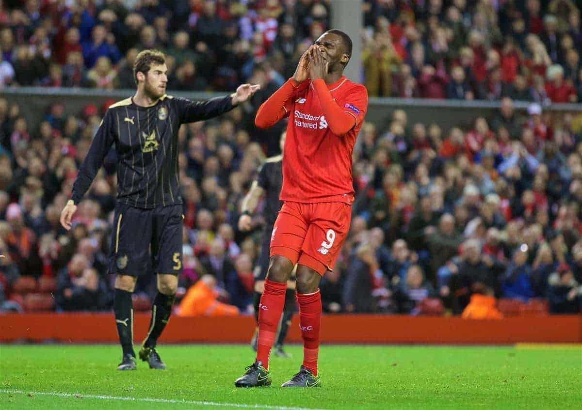 LIVERPOOL, ENGLAND - Thursday, October 22, 2015: Liverpool's Christian Benteke looks dejected after missing a chance against Rubin Kazan during the UEFA Europa League Group Stage Group B match at Anfield. (Pic by David Rawcliffe/Propaganda)