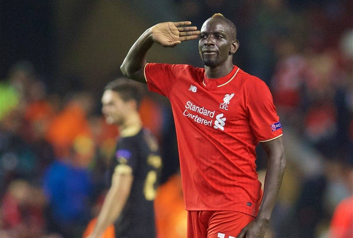 LIVERPOOL, ENGLAND - Thursday, October 22, 2015: Liverpool's Mamadou Sakho salutes the Kop after the 1-1 draw against Rubin Kazan during the UEFA Europa League Group Stage Group B match at Anfield. (Pic by David Rawcliffe/Propaganda)