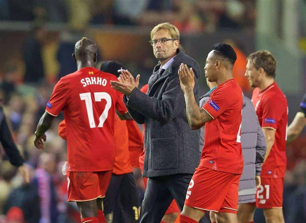 LIVERPOOL, ENGLAND - Thursday, October 22, 2015: Liverpool's manager Jürgen Klopp after the 1-1 draw against Rubin Kazan during the UEFA Europa League Group Stage Group B match at Anfield. (Pic by David Rawcliffe/Propaganda)