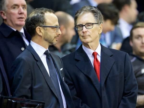 LIVERPOOL, ENGLAND - Thursday, October 22, 2015: Liverpool's owner John W. Henry and Director Michael Gordon before the UEFA Europa League Group Stage Group B match against Rubin Kazan at Anfield. (Pic by David Rawcliffe/Propaganda)