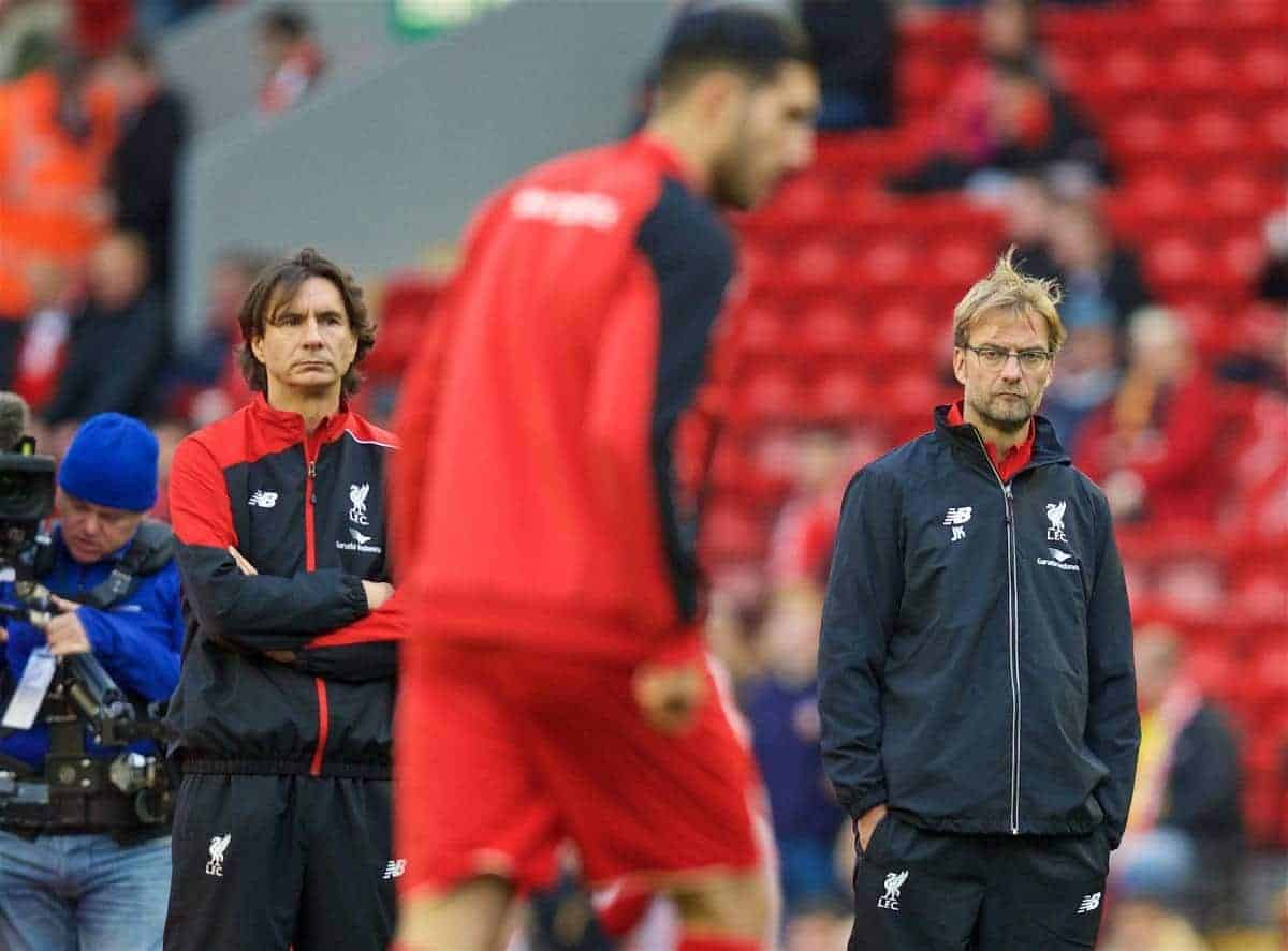 LIVERPOOL, ENGLAND - Sunday, October 25, 2015: Liverpool's manager Jürgen Klopp, assistant manager Zeljko Buvac and Emre Can before the Premier League match against Southampton at Anfield. (Pic by David Rawcliffe/Propaganda)