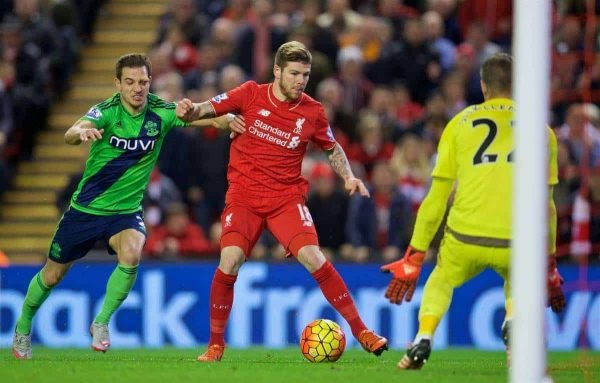 LIVERPOOL, ENGLAND - Sunday, October 25, 2015: Liverpool's Alberto Moreno in action against Southampton's goalkeeper Maarten Stekelenburg during the Premier League match at Anfield. (Pic by David Rawcliffe/Propaganda)