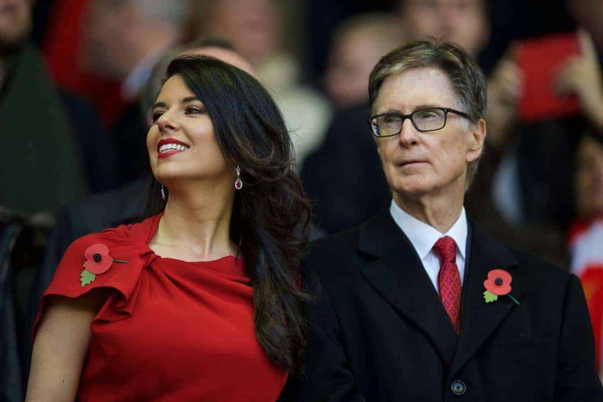 LIVERPOOL, ENGLAND - Sunday, October 25, 2015: Liverpool's Linda Pizzuti and owner John W. Henry in the director's box before the Premier League match against Southampton at Anfield. (Pic by David Rawcliffe/Propaganda)