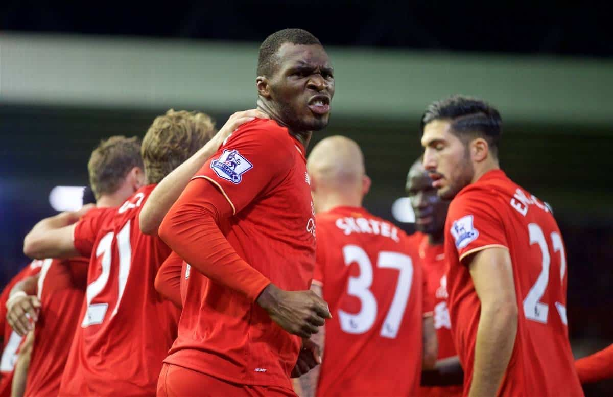 LIVERPOOL, ENGLAND - Sunday, October 25, 2015: Liverpool's Christian Benteke celebrates scoring the first goal against Southampton during the Premier League match at Anfield. (Pic by David Rawcliffe/Propaganda)