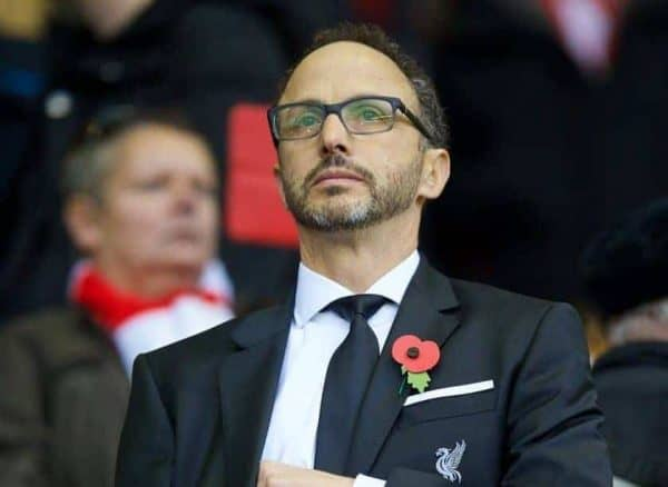 LIVERPOOL, ENGLAND - Sunday, October 25, 2015: Liverpool Director Michael Gordon in the director's box before the Premier League match against Southampton at Anfield. (Pic by David Rawcliffe/Propaganda)