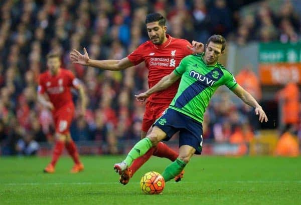 LIVERPOOL, ENGLAND - Sunday, October 25, 2015: Liverpool's Emre Can in action against Southampton's Cedric Soares during the Premier League match at Anfield. (Pic by David Rawcliffe/Propaganda)