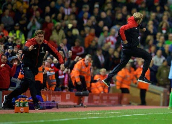 LIVERPOOL, ENGLAND - Sunday, October 25, 2015: Liverpool's manager Jürgen Klopp celebrates 2the first goal against Southampton during the Premier League match at Anfield. (Pic by David Rawcliffe/Propaganda)