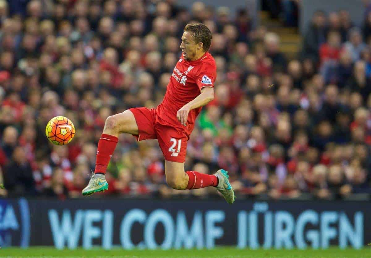 LIVERPOOL, ENGLAND - Sunday, October 25, 2015: Liverpool's Lucas Leiva during the Premier League match against Southampton at Anfield. (Pic by David Rawcliffe/Propaganda)