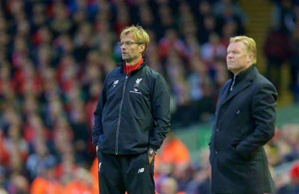 LIVERPOOL, ENGLAND - Sunday, October 25, 2015: Liverpool's manager Jürgen Klopp and Southampton's manager Ronald Koeman during the Premier League match against Southampton at Anfield. (Pic by David Rawcliffe/Propaganda)
