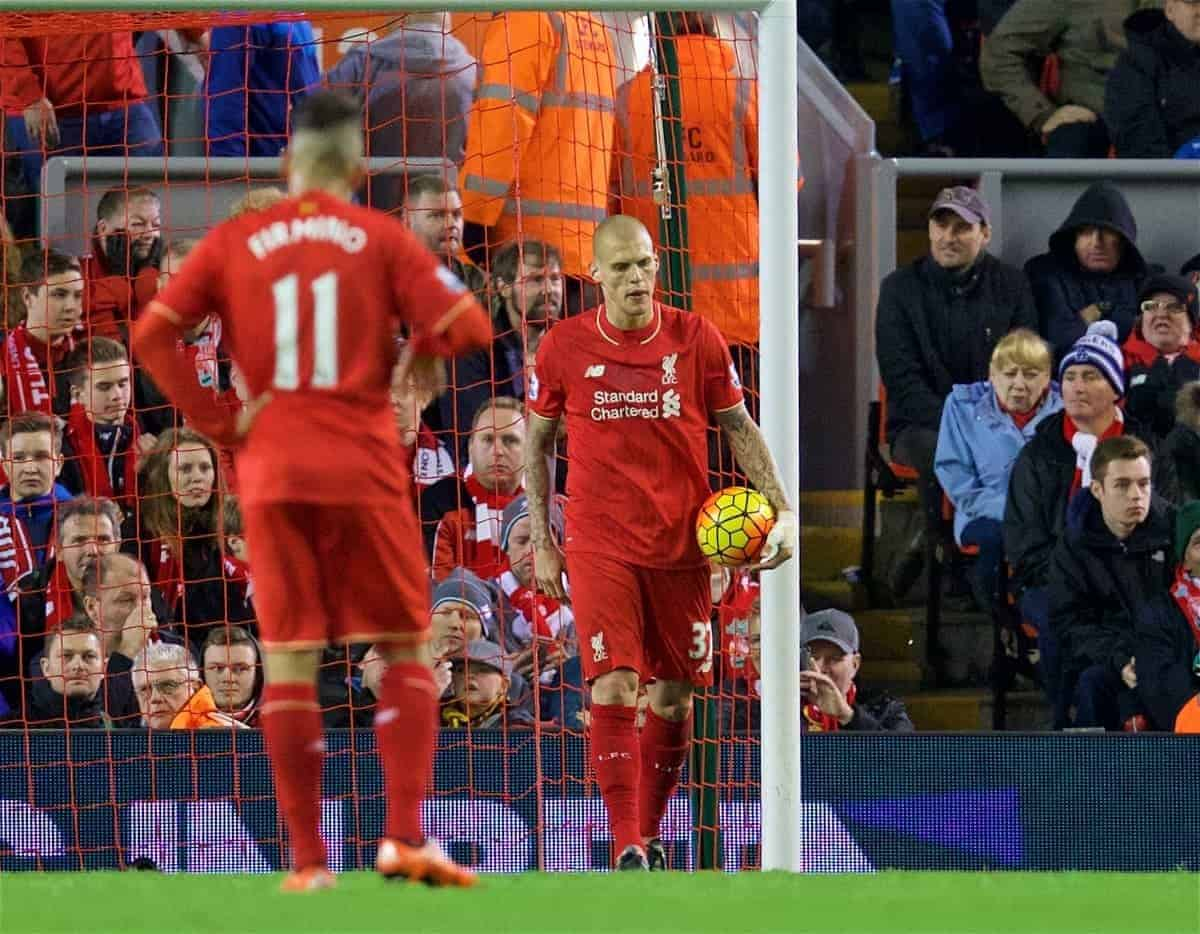 LIVERPOOL, ENGLAND - Sunday, October 25, 2015: Liverpool's Martin Skrtel looks dejected as his side concede a late equaliser to Southampton during the Premier League match at Anfield. (Pic by David Rawcliffe/Propaganda)