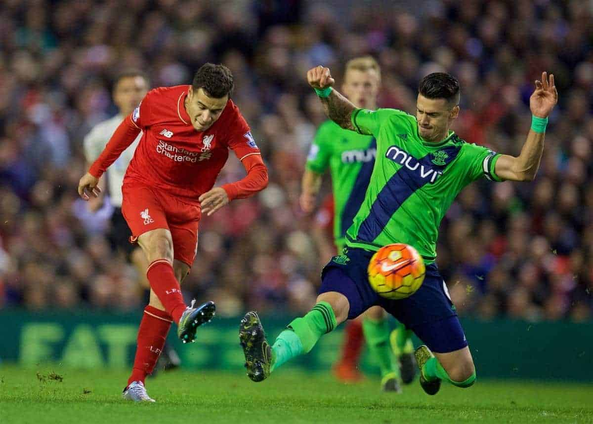 LIVERPOOL, ENGLAND - Sunday, October 25, 2015: Liverpool's Philippe Coutinho Correia in action against Southampton during the Premier League match at Anfield. (Pic by David Rawcliffe/Propaganda)