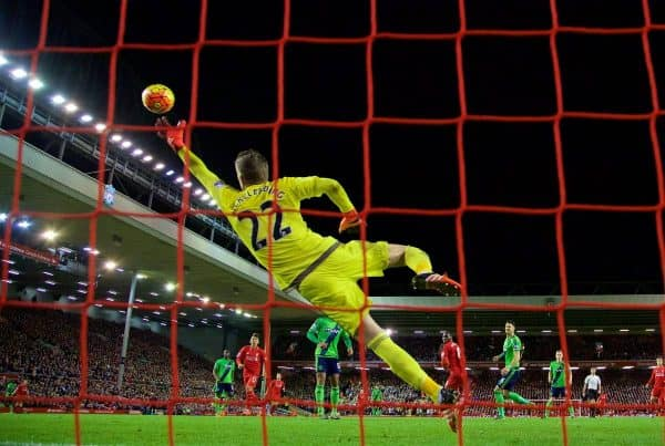 LIVERPOOL, ENGLAND - Sunday, October 25, 2015: Southampton's goalkeeper Maarten Stekelenburg is beaten for the opening goal by Liverpool's Christian Benteke during the Premier League match at Anfield. (Pic by David Rawcliffe/Propaganda)