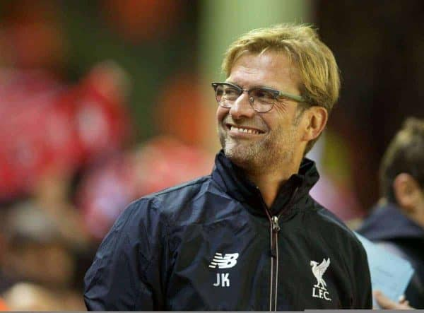 LIVERPOOL, ENGLAND - Wednesday, October 28, 2015: Liverpool's manager Jurgen Klopp before the Football League Cup 4th Round match against AFC Bournemouth at Anfield. (Pic by David Rawcliffe/Propaganda)