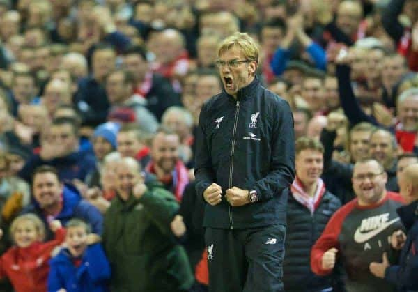 LIVERPOOL, ENGLAND - Wednesday, October 28, 2015: Liverpool's manager Jürgen Klopp celebrates the first goal against AFC Bournemouth during the Football League Cup 4th Round match at Anfield. (Pic by David Rawcliffe/Propaganda)