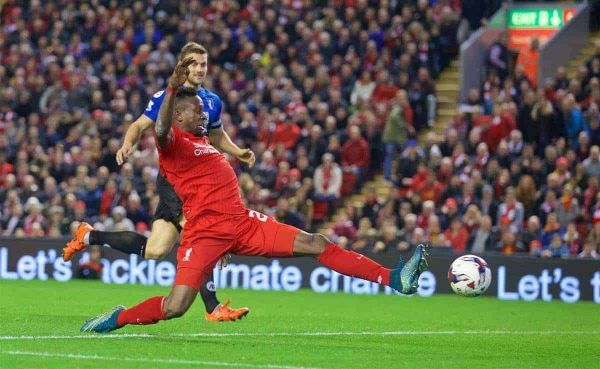 LIVERPOOL, ENGLAND - Wednesday, October 28, 2015: Liverpool's Divock Origi in action against AFC Bournemouth during the Football League Cup 4th Round match at Anfield. (Pic by David Rawcliffe/Propaganda)
