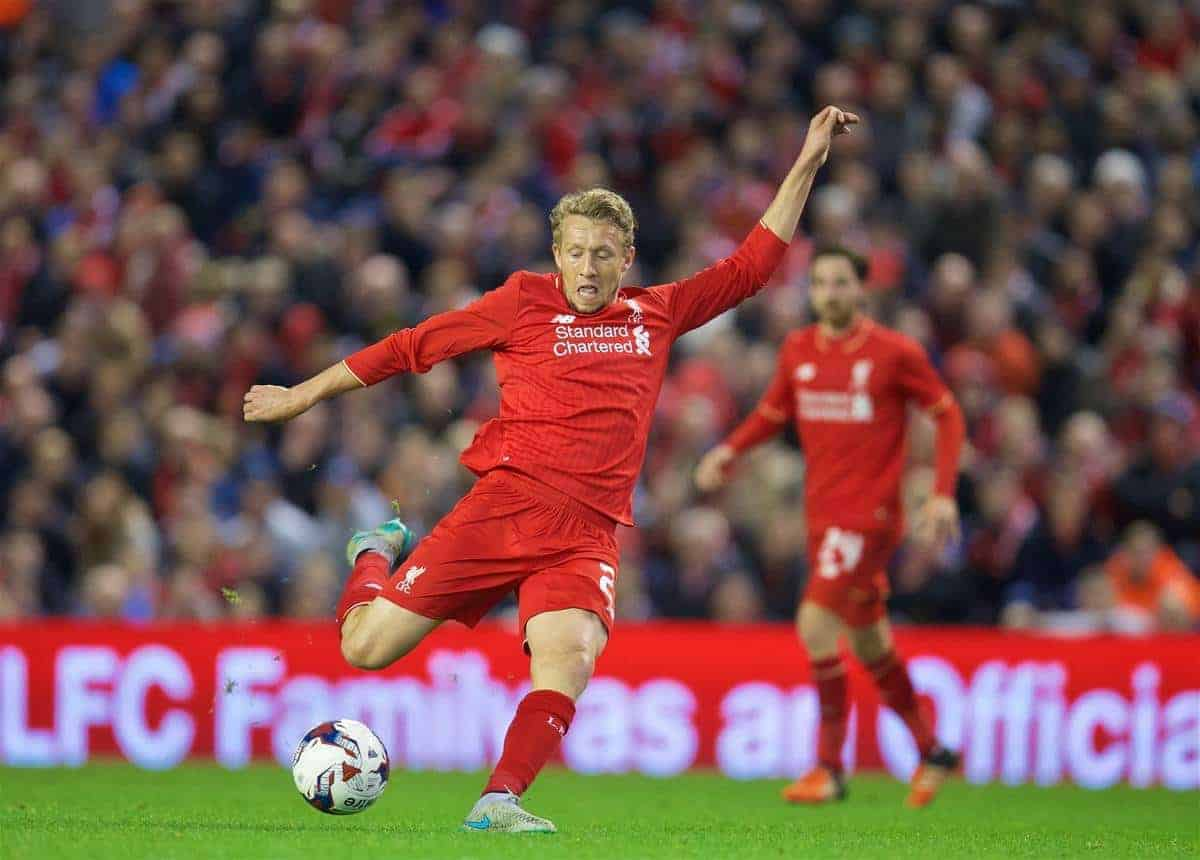 LIVERPOOL, ENGLAND - Wednesday, October 28, 2015: Liverpool's Lucas Leiva in action against AFC Bournemouth during the Football League Cup 4th Round match at Anfield. (Pic by David Rawcliffe/Propaganda)