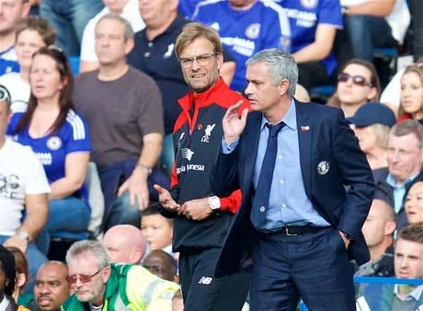 LONDON, ENGLAND - Saturday, October 31, 2015: Chelsea's manager Jose Mourinho and Liverpool's manager Jürgen Klopp during the Premier League match at Stamford Bridge. (Pic by David Rawcliffe/Propaganda)