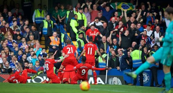 Liverpool's Philippe Coutinho Correia celebrates scoring the second goal against Chelsea during the Premier League match at Stamford Bridge. (Pic by David Rawcliffe/Propaganda)