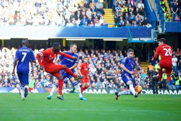 Liverpool's Christian Benteke scores the third goal against Chelsea during the Premier League match at Stamford Bridge. (Pic by David Rawcliffe/Propaganda)