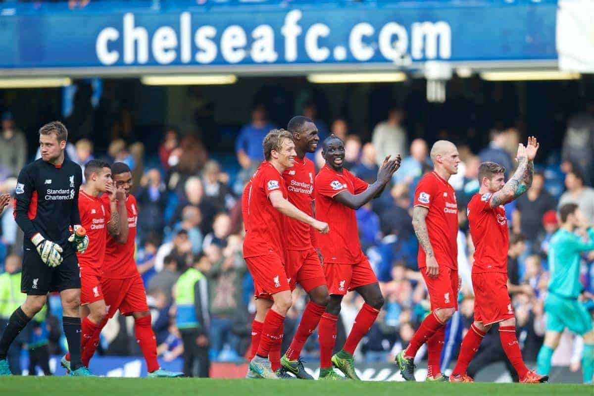 LONDON, ENGLAND - Saturday, October 31, 2015: Liverpool's Lucas Leiva, Christian Benteke and Mamadou Sakho celebrate after their 3-1 victory over Chelsea during the Premier League match at Stamford Bridge. (Pic by David Rawcliffe/Propaganda)