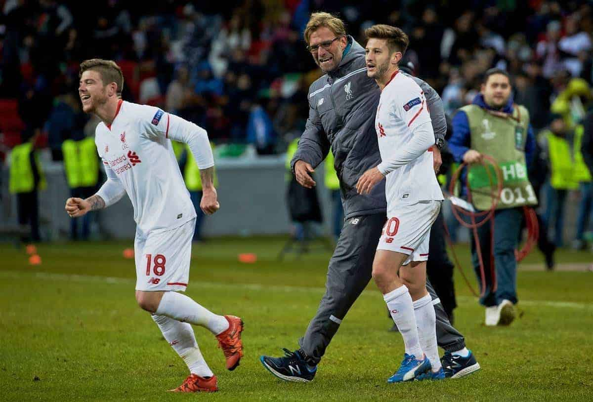 Liverpool's manager Jürgen Klopp celebrates with Alberto Moreno and Adam Lallana after the 1-0 victory over Rubin Kazan during the UEFA Europa League Group Stage Group B match at the Kazan Arena. (Pic by Oleg Nikishin/Propaganda)