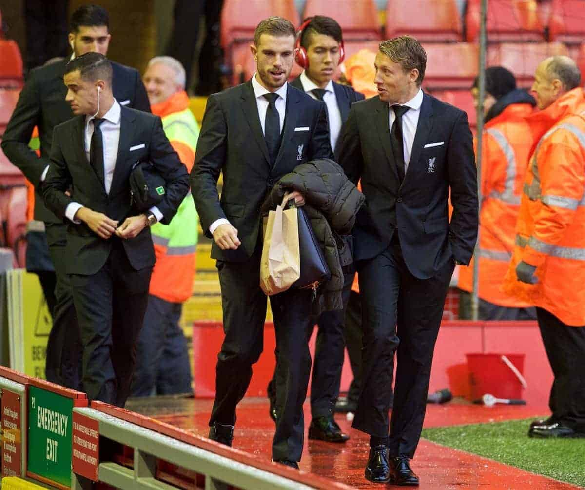 LIVERPOOL, ENGLAND - Sunday, November 8, 2015: Liverpool's captain Jordan Henderson and Lucas Leiva arrive at Anfield ahead of the Premier League match against Crystal Palace. (Pic by David Rawcliffe/Propaganda)