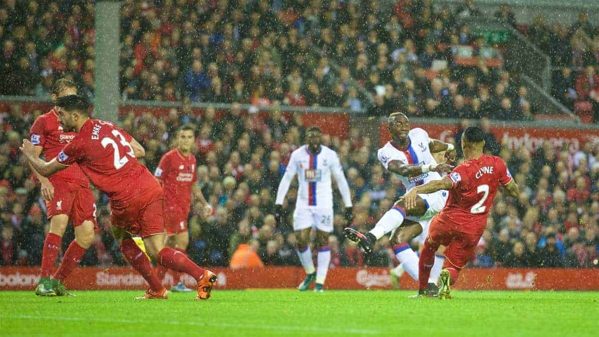 LIVERPOOL, ENGLAND - Sunday, November 8, 2015: Crystal Palace's Yannick Bolas scores the first goal against Liverpool during the Premier League match at Anfield. (Pic by David Rawcliffe/Propaganda)
