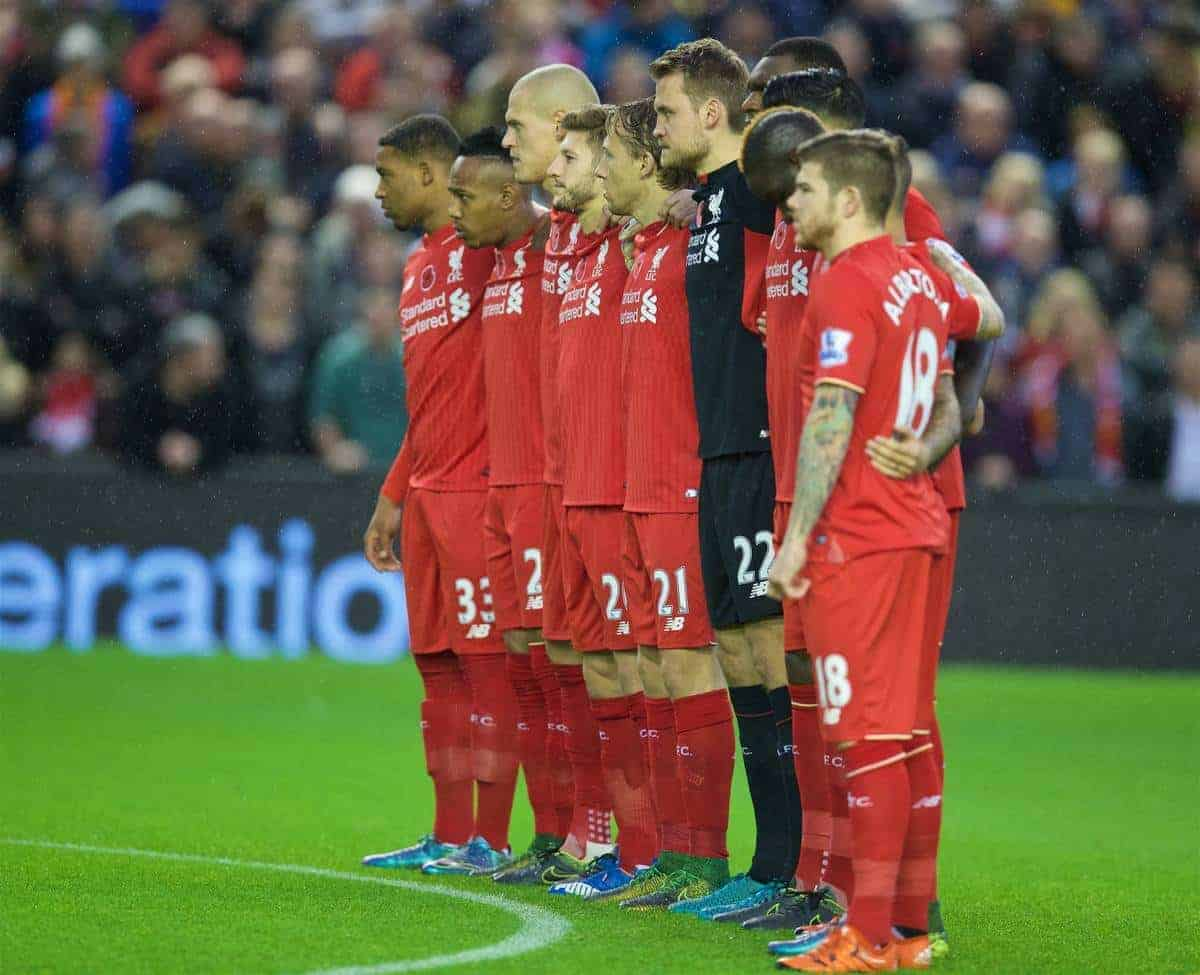 LIVERPOOL, ENGLAND - Sunday, November 8, 2015: Liverpool players stand for a minute's silence for Remembrance Sunday before during the Premier League match against Crystal Palace at Anfield. (Pic by David Rawcliffe/Propaganda)