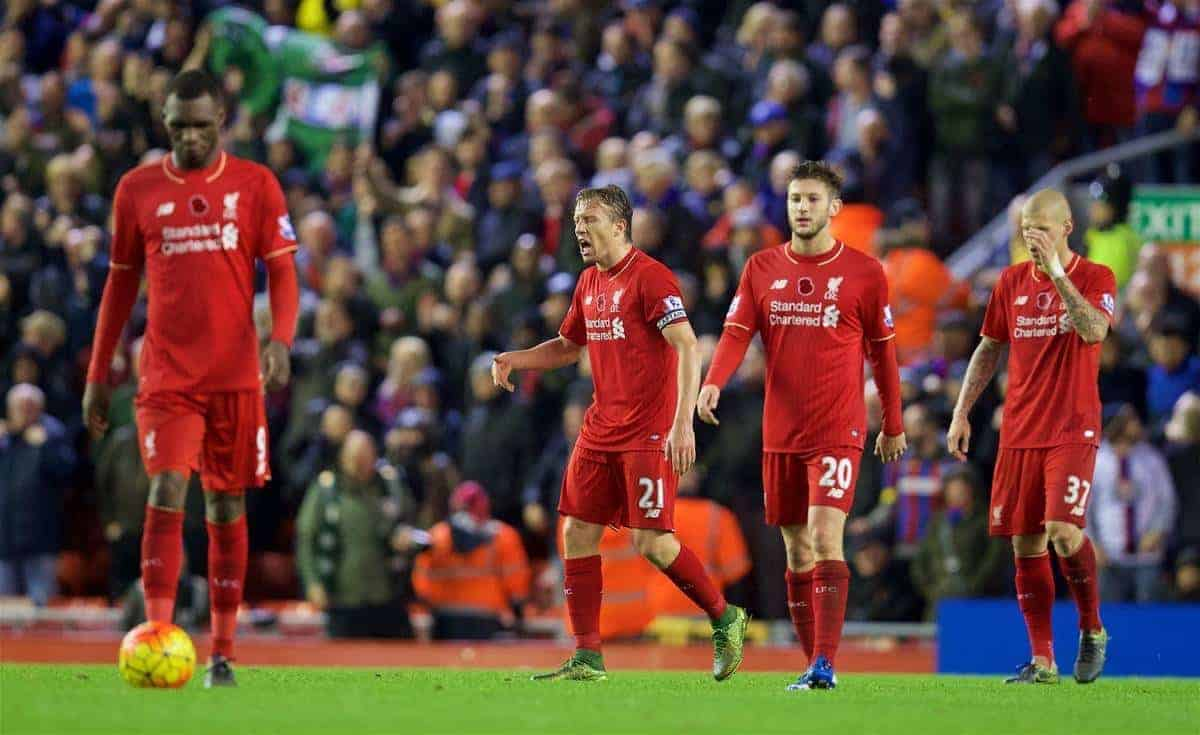 LIVERPOOL, ENGLAND - Sunday, November 8, 2015: Liverpool's Lucas Leiva looks dejected as Crystal Palace score the second goal during the Premier League match at Anfield. (Pic by David Rawcliffe/Propaganda)