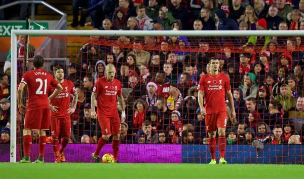 LIVERPOOL, ENGLAND - Sunday, November 8, 2015: Liverpool's Martin Skrtel and Dejan Lovren look dejected as Crystal Palace score the second goal during the Premier League match at Anfield. (Pic by David Rawcliffe/Propaganda)