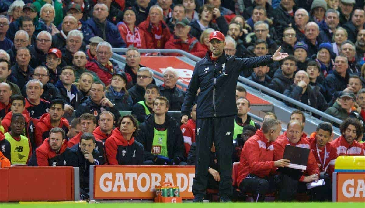 LIVERPOOL, ENGLAND - Sunday, November 8, 2015: Liverpool's manager Jürgen Klopp during the Premier League match against Crystal Palace at Anfield. (Pic by David Rawcliffe/Propaganda)