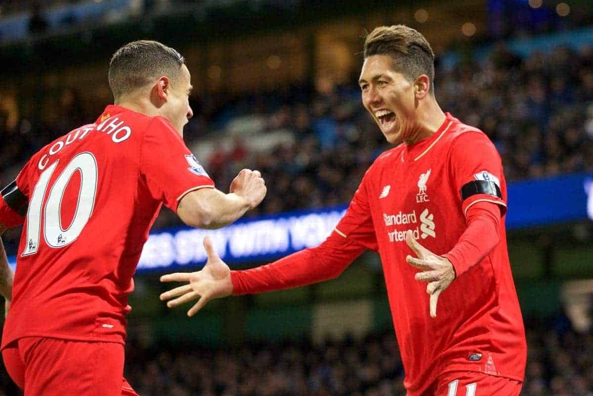 MANCHESTER, ENGLAND - Saturday, November 21, 2015: Liverpool's Roberto Firmino celebrates the Manchester City own goal scored by Mangala during the Premier League match against Liverpool at the City of Manchester Stadium. (Pic by David Rawcliffe/Propaganda)