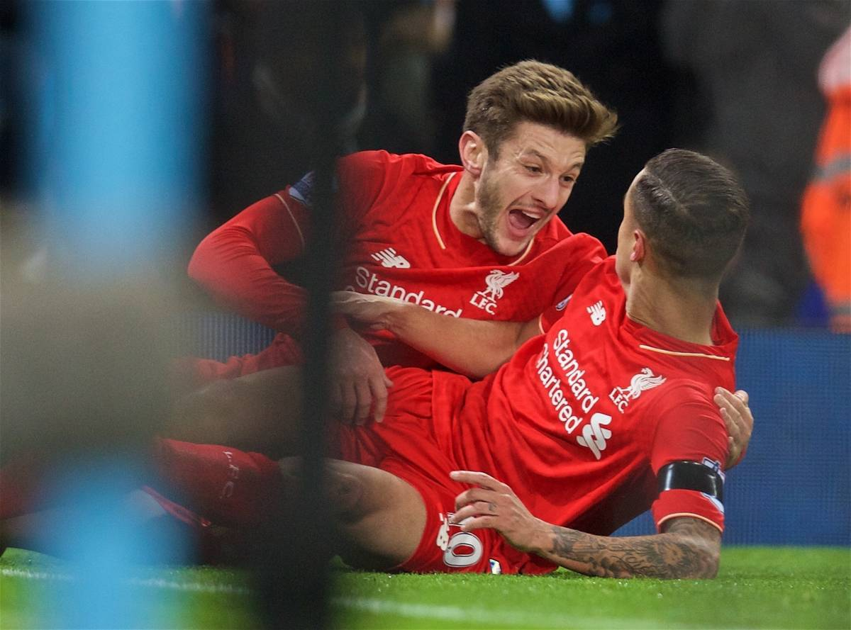 MANCHESTER, ENGLAND - Saturday, November 21, 2015: Liverpool's Philippe Coutinho Correia celebrates scoring the second goal against Manchester City with team-mate Adam Lallana during the Premier League match at the City of Manchester Stadium. (Pic by David Rawcliffe/Propaganda)