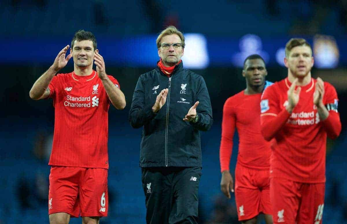 MANCHESTER, ENGLAND - Saturday, November 21, 2015: Liverpool's Dejan Lovren and manager Jürgen Klopp after the 4-1 victory over Manchester City during the Premier League match at the City of Manchester Stadium. (Pic by David Rawcliffe/Propaganda)