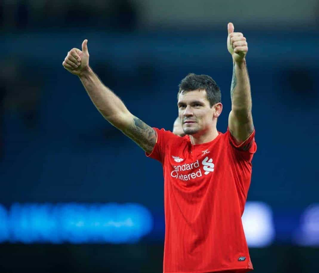 MANCHESTER, ENGLAND - Saturday, November 21, 2015: Liverpool's Dejan Lovren after the 4-1 victory over Manchester City during the Premier League match at the City of Manchester Stadium. (Pic by David Rawcliffe/Propaganda)