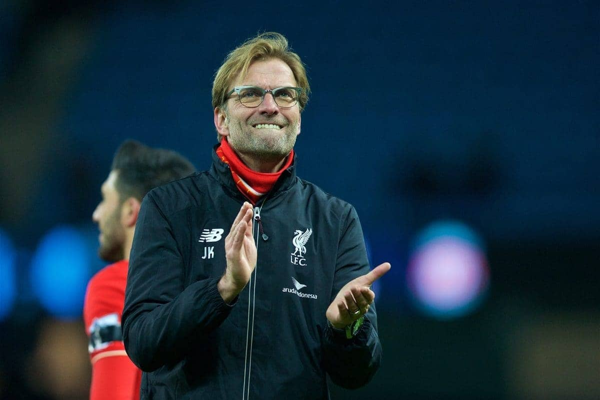 MANCHESTER, ENGLAND - Saturday, November 21, 2015: Liverpool's manager Jürgen Klopp after the 4-1 victory over Manchester City during the Premier League match at the City of Manchester Stadium. (Pic by David Rawcliffe/Propaganda)