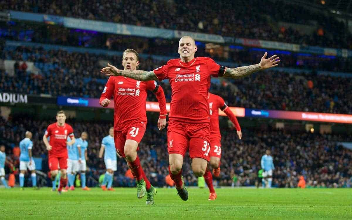 MANCHESTER, ENGLAND - Saturday, November 21, 2015: Liverpool's Martin Skrtel celebrates scoring the fourth goal against Manchester City during the Premier League match at the City of Manchester Stadium. (Pic by David Rawcliffe/Propaganda)