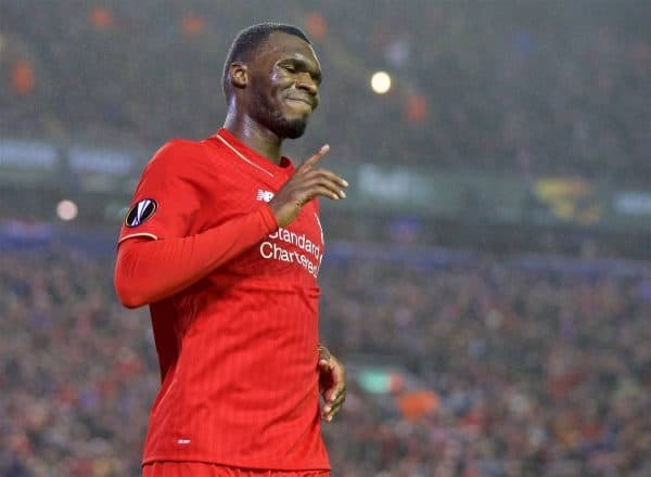 LIVERPOOL, ENGLAND - Thursday, November 26, 2015: Liverpool's Christian Benteke sees his goal disallowed for off-side against FC Girondins de Bordeaux during the UEFA Europa League Group Stage Group B match at Anfield. (Pic by David Rawcliffe/Propaganda)