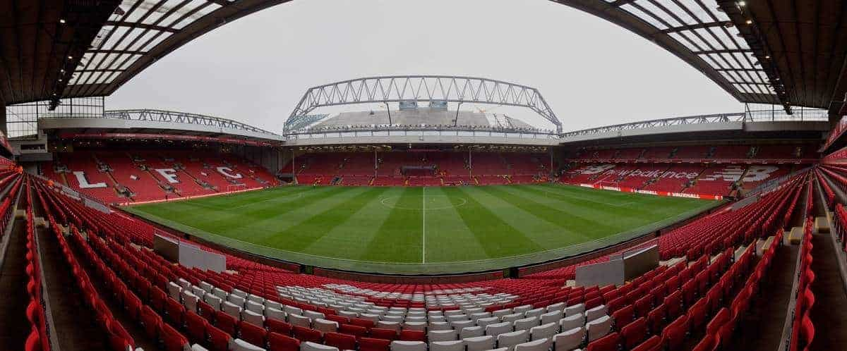 LIVERPOOL, ENGLAND - Sunday, November 29, 2015: Liverpool's Main Stand expansion looms large over the stadium before the Premier League match against Swansea City at Anfield. (Pic by David Rawcliffe/Propaganda)