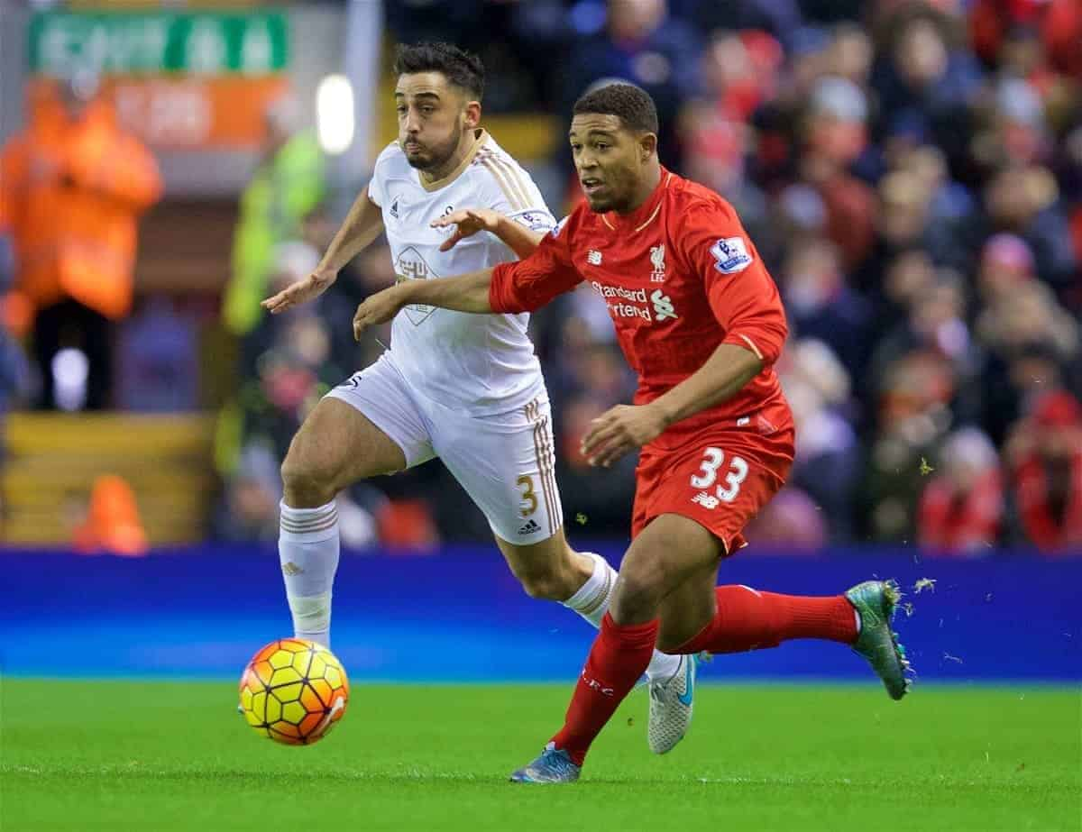 LIVERPOOL, ENGLAND - Sunday, November 29, 2015: Liverpool's Jordon Ibe in action against Swansea City's Neil Taylor during the Premier League match at Anfield. (Pic by David Rawcliffe/Propaganda)