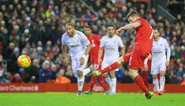 LIVERPOOL, ENGLAND - Sunday, November 29, 2015: Liverpool's James Milner scores the first goal against Swansea City from the penalty spot during the Premier League match at Anfield. (Pic by David Rawcliffe/Propaganda)