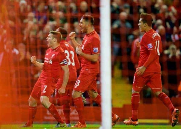 LIVERPOOL, ENGLAND - Sunday, November 29, 2015: Liverpool's James Milner celebrates scoring the first goal against Swansea City during the Premier League match at Anfield. (Pic by David Rawcliffe/Propaganda)