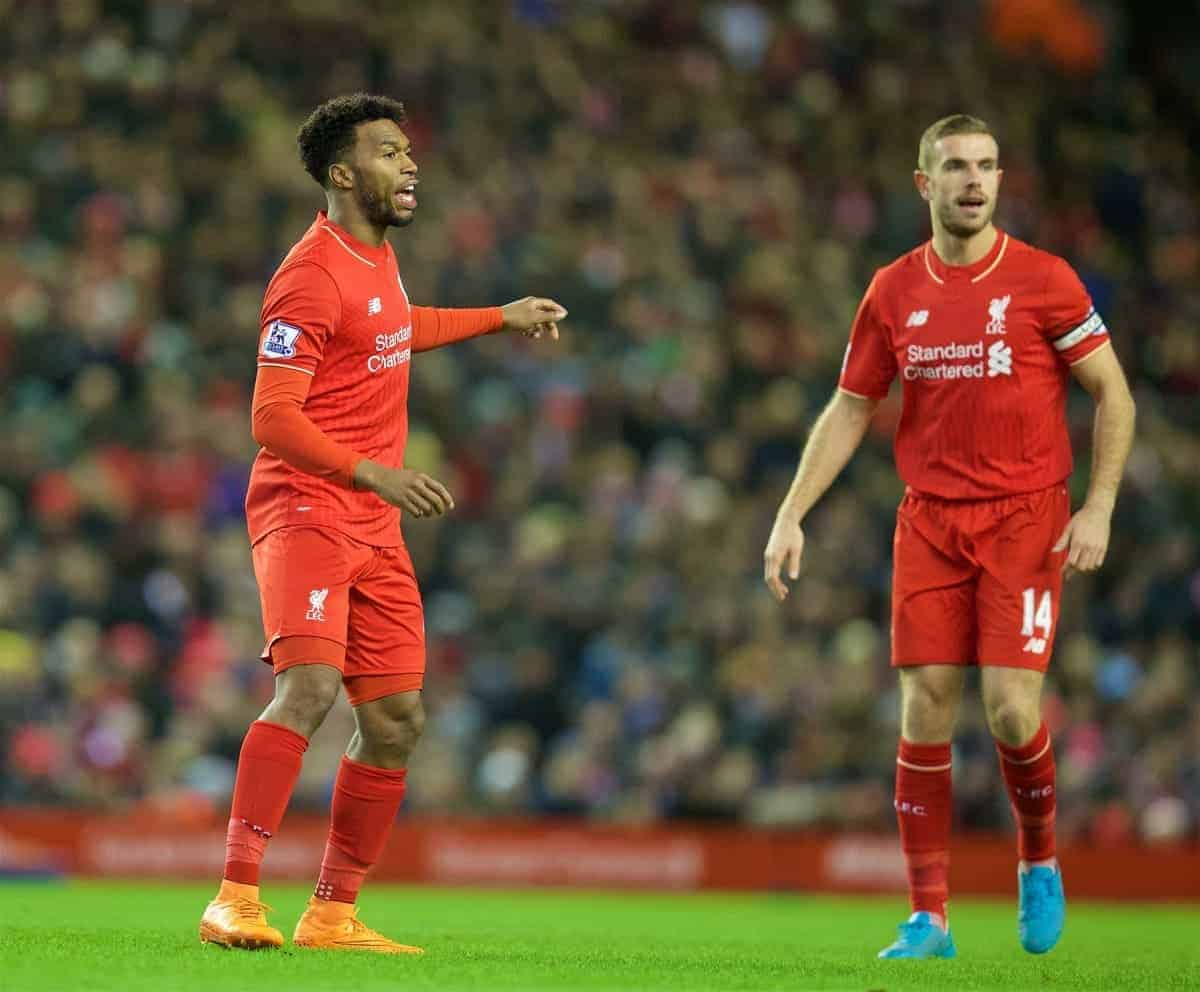 LIVERPOOL, ENGLAND - Sunday, November 29, 2015: Liverpool's substitutes Daniel Sturridge and captain Jordan Henderson in action against Swansea City during the Premier League match at Anfield. (Pic by David Rawcliffe/Propaganda)