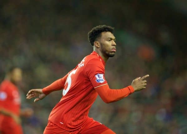 LIVERPOOL, ENGLAND - Sunday, November 29, 2015: Liverpool's substitute Daniel Sturridge in action against Swansea City during the Premier League match at Anfield. (Pic by David Rawcliffe/Propaganda)