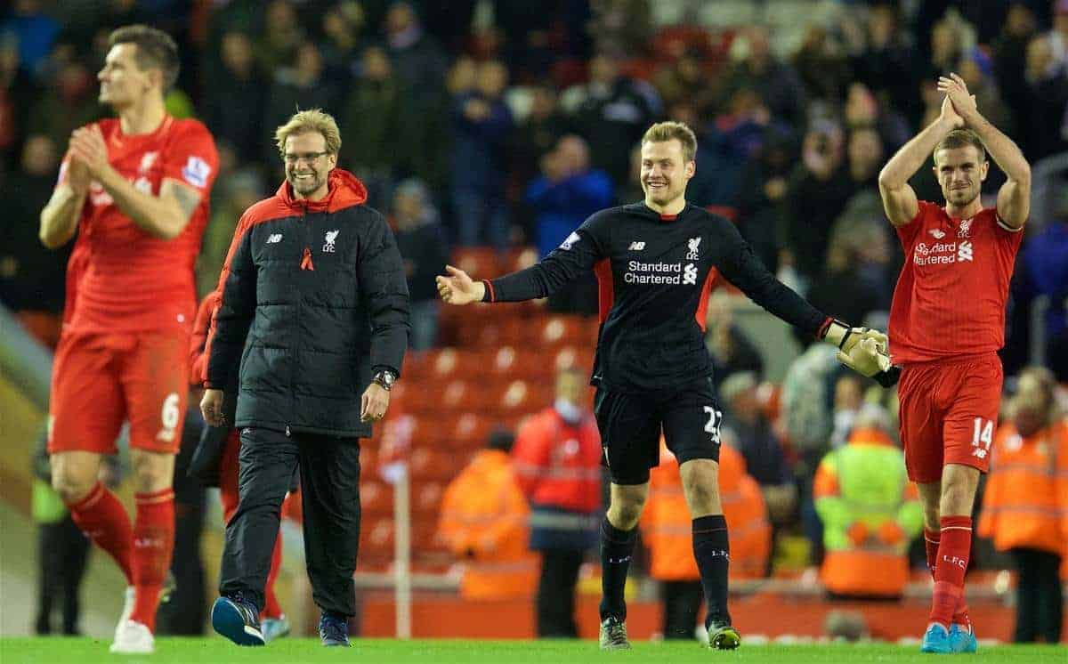 LIVERPOOL, ENGLAND - Sunday, November 29, 2015: Liverpool's manager Jürgen Klopp and goalkeeper Simon Mignolet celebrate after the 2-0 victory over Swansea City during the Premier League match at Anfield. (Pic by David Rawcliffe/Propaganda)