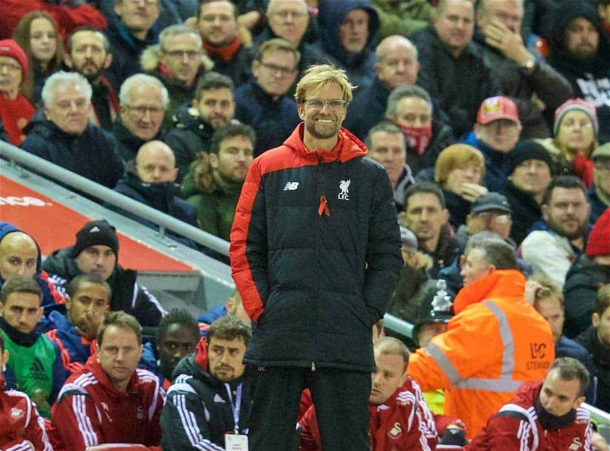 LIVERPOOL, ENGLAND - Sunday, November 29, 2015: Liverpool's manager Jürgen Klopp is all smiles as his side beat Swansea City 1-0 during the Premier League match at Anfield. (Pic by David Rawcliffe/Propaganda)