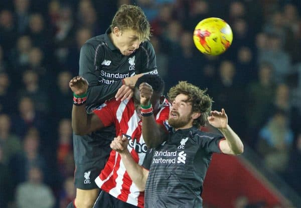 SOUTHAMPTON, ENGLAND - Wednesday, December 2, 2015: Liverpool's Lucas Leiva and Joe Allen in action against Southampton's Victor Wanyama during the Football League Cup Quarter-Final match at St. Mary's Stadium. (Pic by David Rawcliffe/Propaganda)